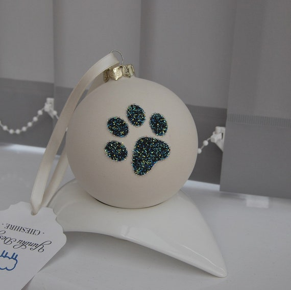 Large Ceramic Bauble with Swarovski ® Crystal Rocks Paw Print.