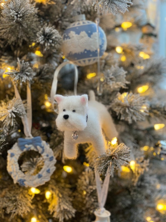 Handmade Needle Felted Wool West Highland Terrier Sculpture. Christmas tree decoration.