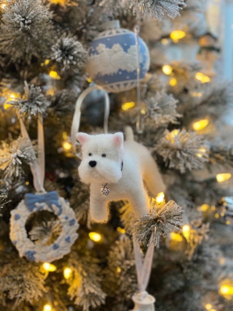 Handmade Needle Felted Wool West Highland Terrier Sculpture. With Hanging Ribbon