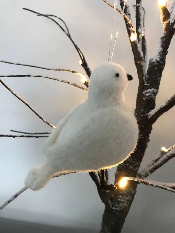 Handmade Needle Felted Turtle Dove Decoration - hanging Christmas decoration