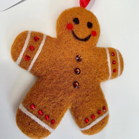 Swarovski ® Crystal Embellished Needle Felted Gingerbread Decoration - hanging decoration - christmas decoration