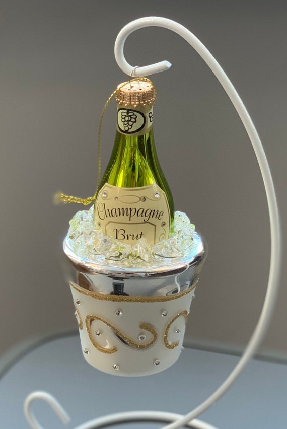 Champagne on Ice Glass Decoration.