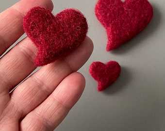 Needle felted hearts | Pocket hug | Felted hearts for crafts | Felt hearts for DIY garlands and crafts | Greetings Card Fillers