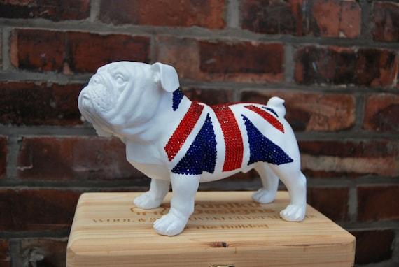 Swarovski ® Crystal Embellished Union Jack Bulldog Statue/Ornament.
