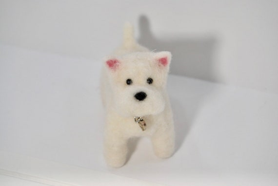 Handmade Needle Felted Wool West Highland Terrier Sculpture.