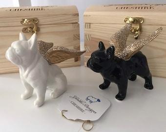 Premium Crystal Embellished Porcelain French Bulldog Ornament | Pet Dog Memorial Gift | Personalised Dog Gift