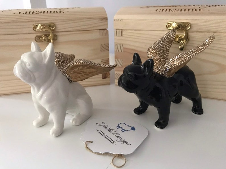 Premium Crystal Embellished Porcelain French Bulldog Ornament image 0