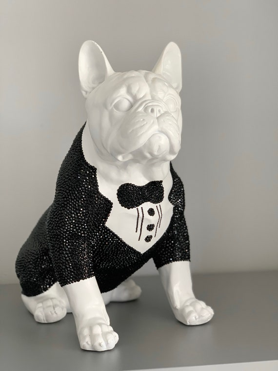 Large Swarovski ® Crystal Embellished French Bulldog Statue.