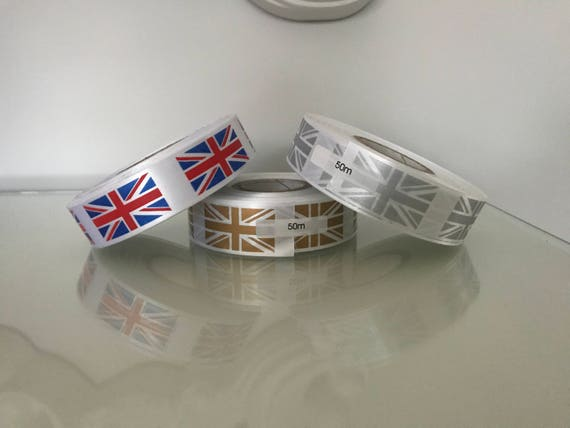 50 Meter Rolls of Union Jack Ribbon