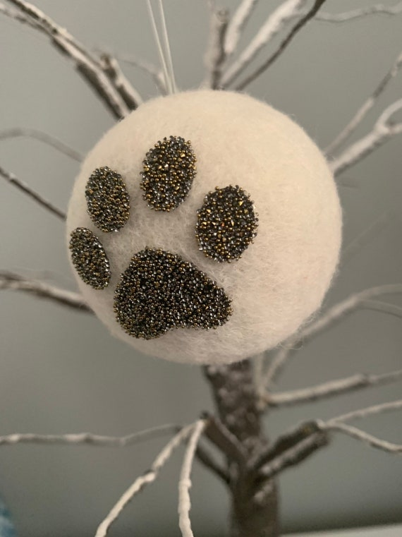 Handmade Swarovski ® Crystal Paw Print Wool Decoration.