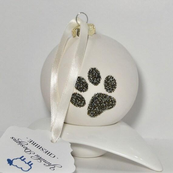 Large Ceramic Bauble with Swarovski ® Crystal Rocks Paw Print.