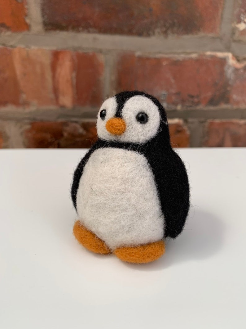 Needle Felted Penguin  sculpture  hanging decorations  image 0