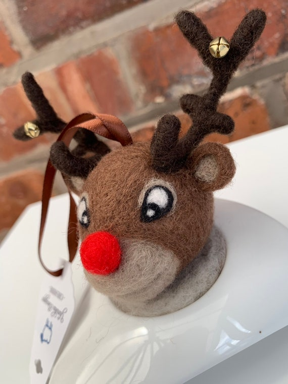 Needle Felted Rudolph Decoration.