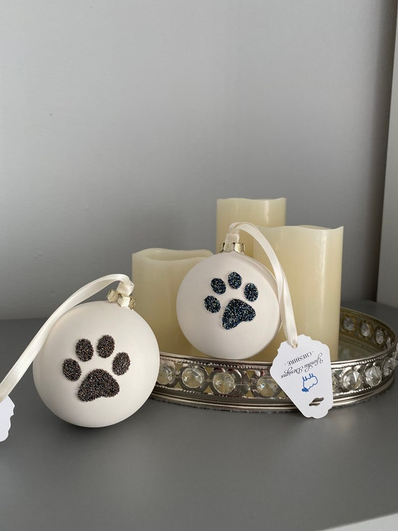 Large Ceramic Bauble with Swarovski ® Crystal Rocks Paw Print - hanging decorations - christmas bauble decoration