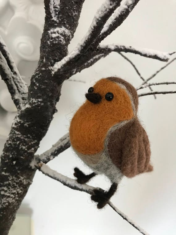 Needle Felted Robin Decoration - hanging decoration - christmas decoration