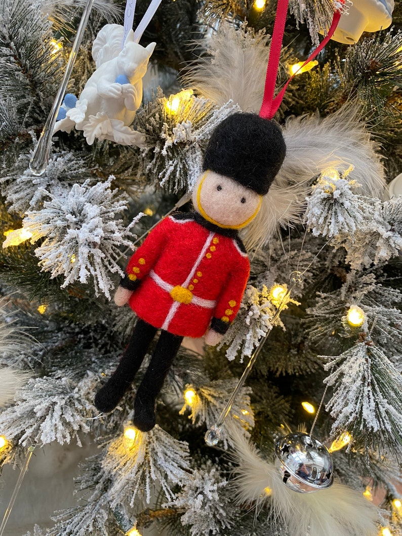 Needle Felted Queens Guard Decoration  handmade hanging image 0