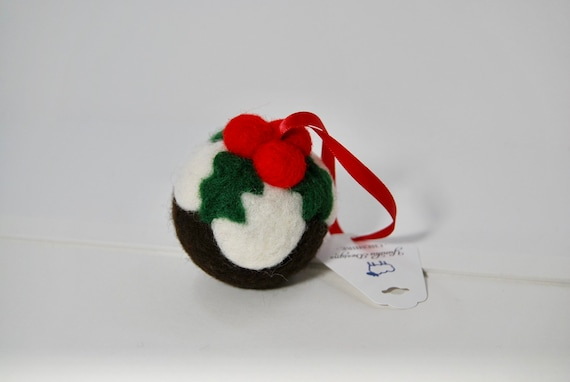 Needle Felted Christmas Pudding Christmas Decoration - hanging decoration - christmas decoration