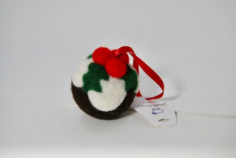 Needle Felted Christmas Pudding Christmas Decoration  hanging image 0