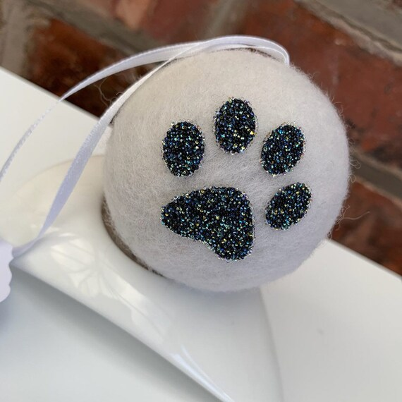 Swarovski ® Crystal Paw Print Wool Decoration.