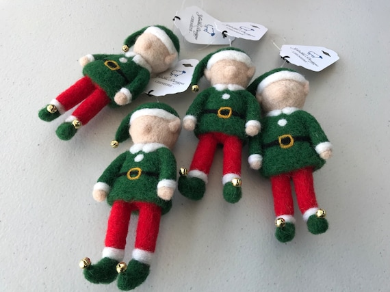 Handmade Needle Felted Wool Elf Christmas Decoration - hanging decoration