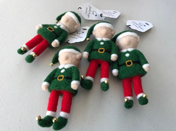 Handmade Needle Felted Wool Elf Christmas Decoration.