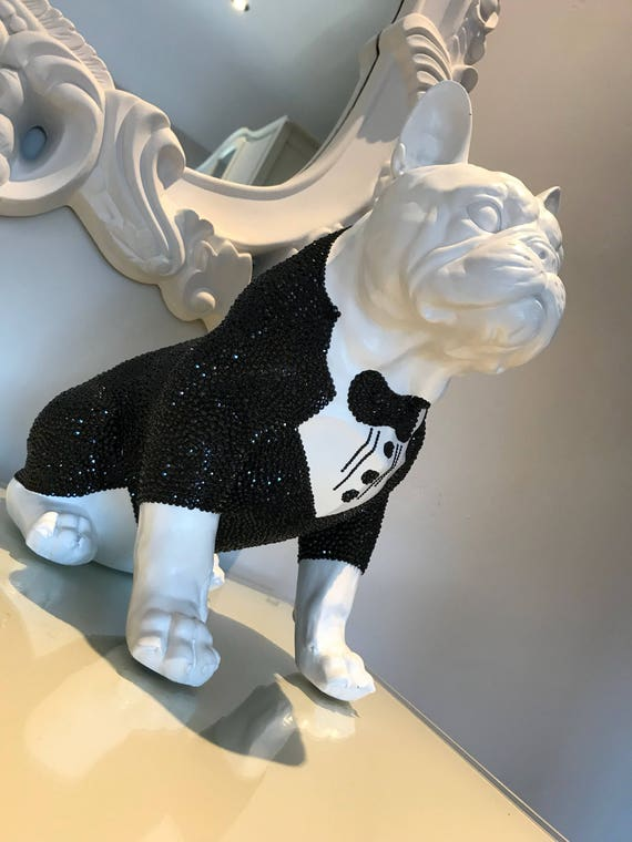 Large Swarovski ® Crystal Embellished French Bulldog Statue.