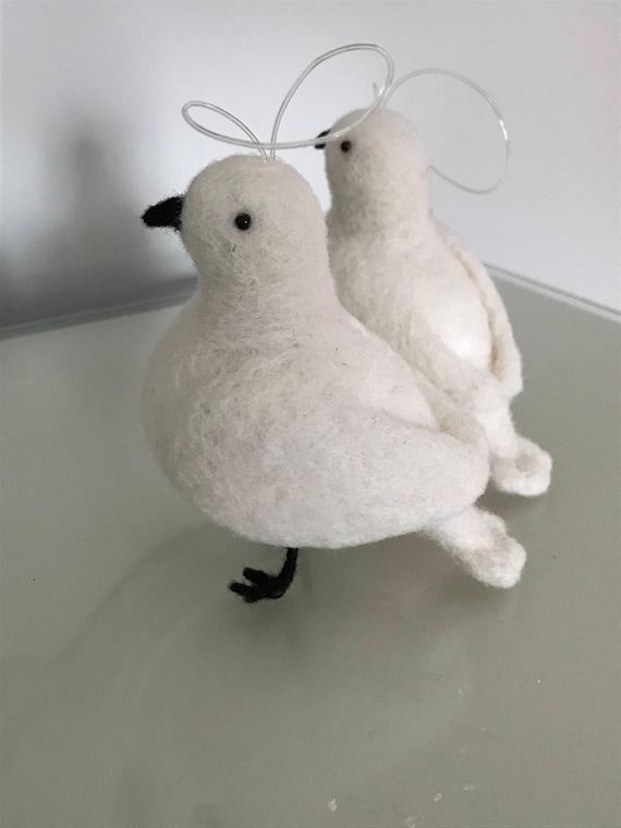 Handmade Needle Felted Turtle Dove Decorations - hanging Christmas decoration