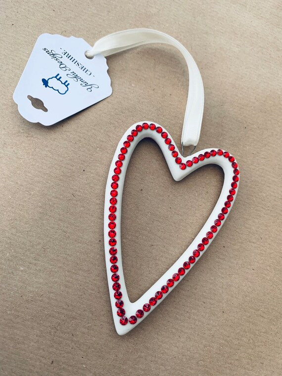 Swarovski ® Crystal Embellished Ceramic Heart Decoration - hanging decoration - christmas decoration