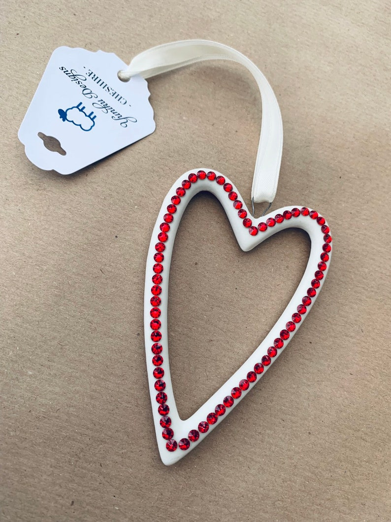 Premium Crystal Embellished Ceramic Heart Decoration  Hanging image 0