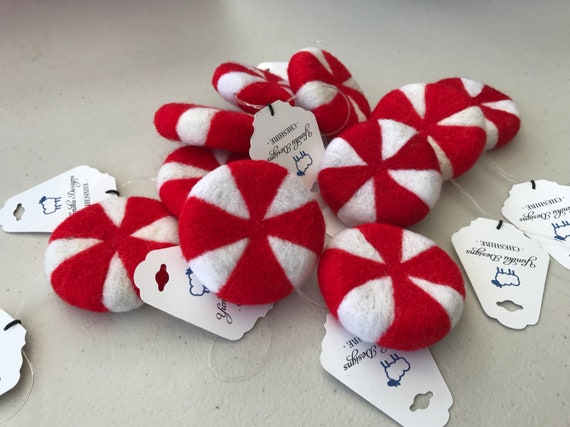 Needle Felted Set of 4 Peppermint Swirl Decorations - hanging decorations - christmas decoration