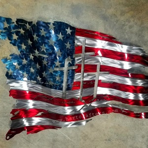 Vintage Worn American Flag ~ Patriotic ~DIY Counted Cross Stitch Pattern