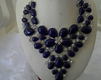Blue Chrona Stones Flower Bib Necklace #286