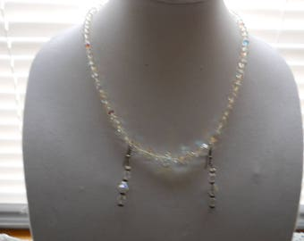 Vintage Crystal Necklace Earring Set #808