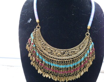 Turquoise And Brass Bib Necklace #762
