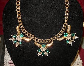 Rhinestone Bib Necklace #872