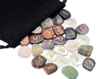 Mixed Assorted Gemstones Elder Futhark Rune Set Hand Carved Gemstone Runic