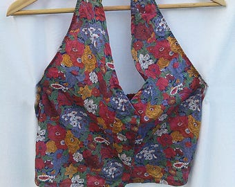 Red floral halter tie neck upcycled top