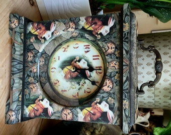 Alice in Wonderland Illustrated Clock. White Rabbit Clock.  Alice in Wonderland Decor. Unique Clock. Carriage Clock. Lewis Carroll Clock.