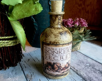 Alice in Wonderland Bottle. Bonkers Bottle. Mad Hatters Tea Party. Alice in Wonderland Decor. Drink Me. Bottle. Alice Bottle.