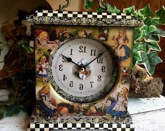 Alice in Wonderland Backwards Clock . Alice in Wonderland Clock. Alice in Wonderland Gift. Alice in Wonderland Decor. 5th Anniversary Gift