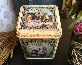 Mad Hatters Tea Party Decorated Tin. Alice in Wonderland Keepsake Tin. Keepsake Box. Treasure Tin. Trinket Tin.  Alice in Wonderland Tin.