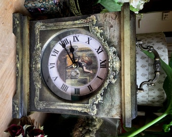 Alice Through the Looking Glass Clock. Victorian Style Clock. Looking Glass Clock. Alice in Wonderland Decor. Clock. Carriage Clock. Alice