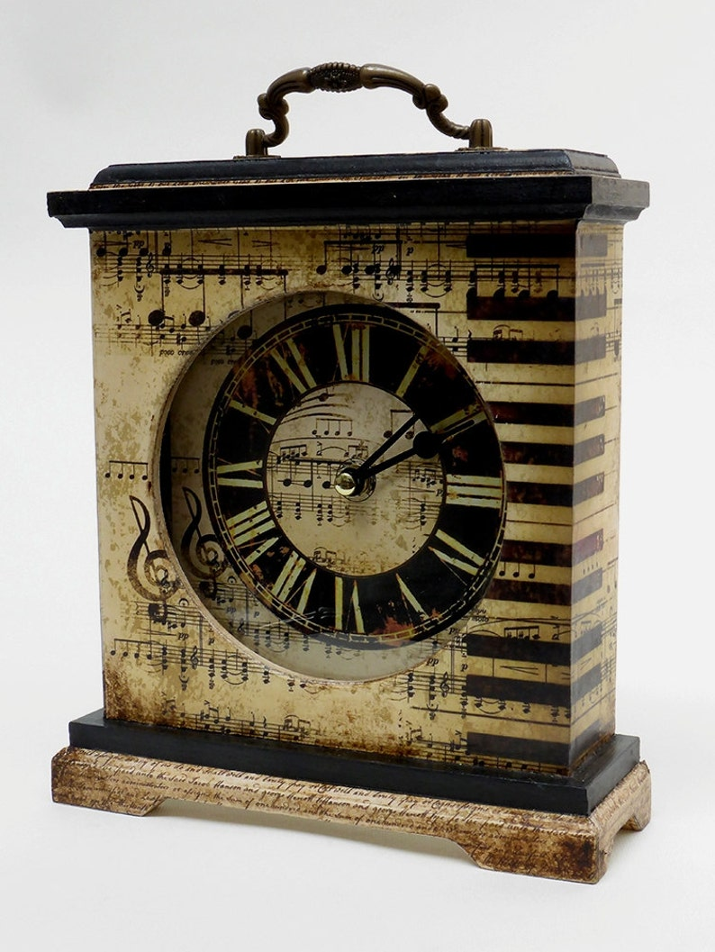 Music Mantel Clock decorated & decoupaged with music notes image 0