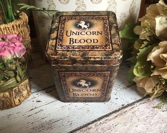 Harry Potter Unicorn Blood Potion. Harry Potter Keepsake Tin. Treasure Tin. Magic Potion Tin. Harry Potter Gift. Jewellery Tin. Storage Tin.