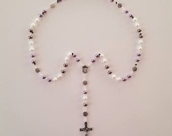 Lavender / White / Taupe Swirl Rosary