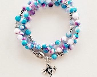 Aqua and Purple Marble Jade Stretch Rosary Bracelet