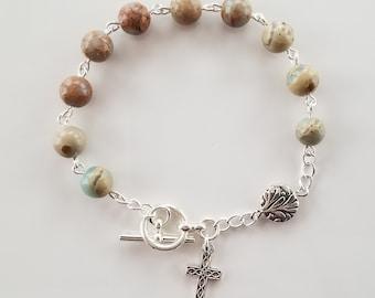 Snakeskin (Aqua Terra) Jasper Rosary Bracelet