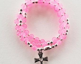 Pink Jade Stretch Rosary Bracelet