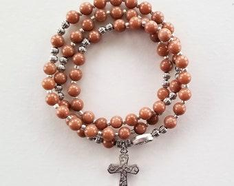 Sunstone Stretch Rosary Bracelet