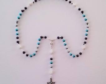 Turquoise / Plum / Gray Marian Rosary